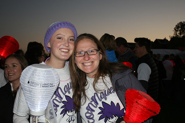 """CELEBRATING CONNIE: Smiling at the camera, Connie Hoekstra and Deborah Stein, South's Cure Club sponsor, participate in The Leukemia and Lymphoma Society's annual """"Light the Night Walk"""". The duo pictured are just two members of the 200-plus that marched on with Connie's team, CONNquer, on Sunday, Oct. 25 in order to raise money and awareness."""