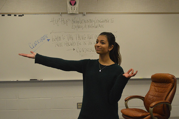 PROFICIENT PATEL: Practicing a speech after school, senior Maya Patel emphasizes her point with hand gestures. Of all the GBS Speech Team members, Patel was the only one to advance to the State tournament, which was held in Peoria on Feb. 19-20.