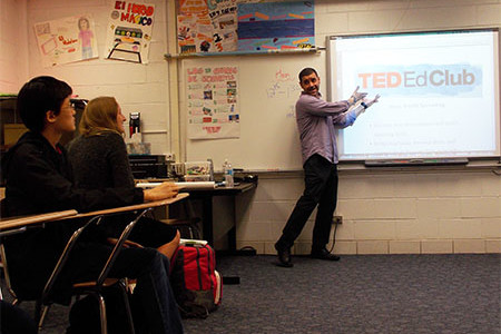Presenting at TED-Ed Club's first meeting, sponsor Jorge Zamora talks with new club members. The club will work to enhance students' presentation skills as they discuss and develop their own ideals.