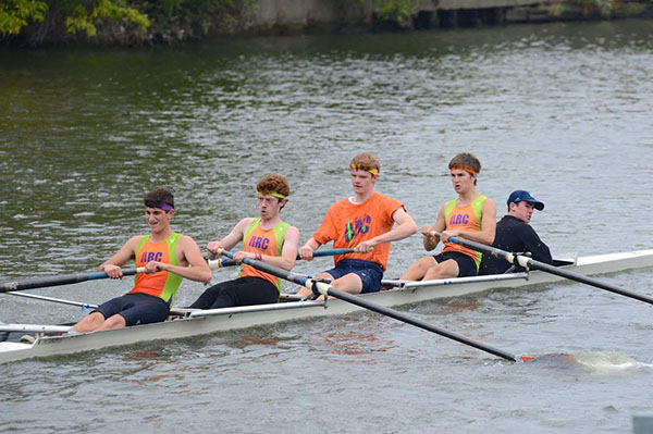 Rowing with his teammates, Pys practices about five to six hours a day in order to prepare for races, according to Pys.