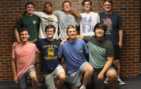 NOBLE NINE: Rehearsing for one of their performances, Nine practices contemporary music with their unique a capella style. This all-male singing group consists of (Top row, left to right) seniors Colb Uhlemann, Zach Adams, Garrett Larson, junior Jimmy McMahon, senior Jack Taylor and (bottom row, left to right) sophomore Ben Kalish, junior Zach Reiss, sophomore Cole Dubrow, and senior Patrick An.