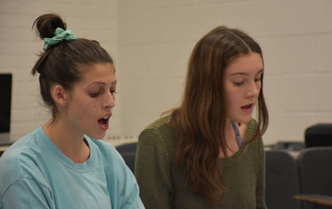 SYMPHONIC SOLACE: Matching pitch, seniors Ashley Levenson (left) and Claire Valenziano (right) practice in their all girls a capella group, Solace. This group is directed by Robert Shellard, new co-choir director.