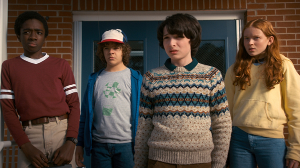 ROLE REPLACEMENT: Pictured from left to right, actors Caleb McLaughlin, Gaten Matarazzo, and Finn Wolfhard play the returning characters Lucas, Dustin and Mike in Season 2 of Stranger Things.  Pictured on the right, actress Sadie Sink portrays the new heroine, Max, acting as a replacement for Eleven and evoking backlash from the fan base.