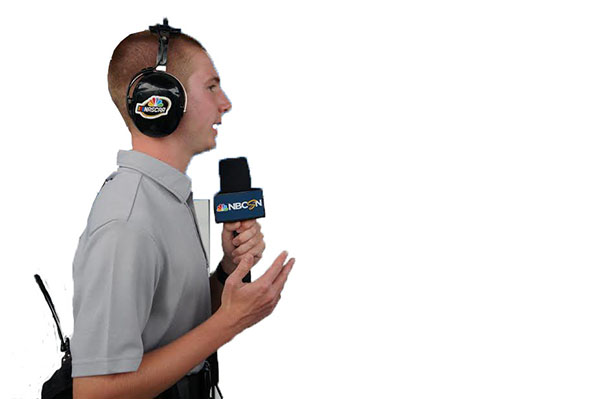 INTRIGUING INTERVIEW:  Conducting an interview, Andrew Kurland speaks with a NASCAR driver as part of his latest creation, the Checkered Flag Crew. The Checkered Flag Crew is an organization through which NASCAR drivers are interviewed. Photo courtesy of Andrew Kurland