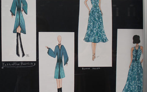 SKILLFUL SKETCHES:  Showing off garments in the process of being made by junior Katherine Feerick (left) and senior Bonnie Weller (right), these models and outfits were sketched by Leone Justice and Mina Kim, respectively. This is the first ever project at South that requires fashion and drawing classes to collaborate.