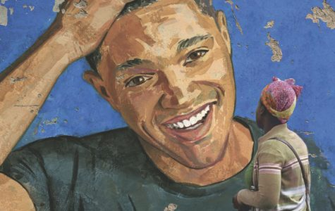 NOTABLE NOAH:   Gazing at a portrait of her son, Trevor Noah's mother is displayed on the cover of Noah's memoir titled, Born a Crime. Noah's stories center around his childhood, as he grew up in apartheid South Africa, the son of a black woman and a white man.