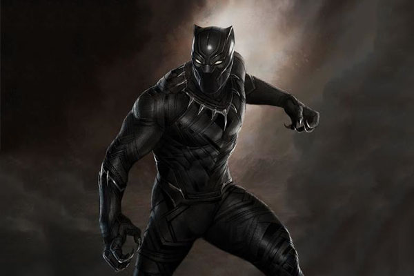 KILLER KING: Baring  his claws, newly crowned king, T'Challa (Chadwick Boseman), puts on his panther suit. T'Challa's role as the black panther is to protect his home of Wakanda.