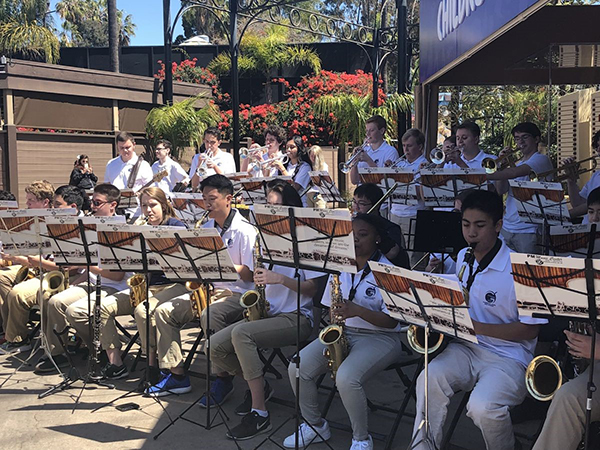 MASTERFUL MUSICIANS:   Focusing intently on their music, the GBS Jazz Band plays at the San Diego Zoo. Along with the zoo, the band played at a number of San Diego landmarks including the USS Midway and the Spreckels Organ Pavilion, according to co-band Director Aaron Wojcik.