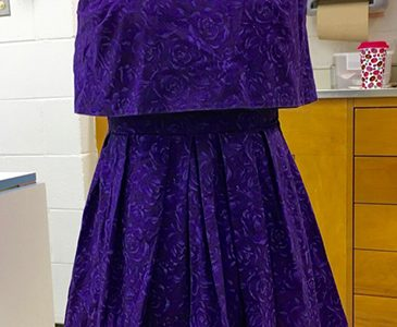 D.I.Y. DRESS: Exhibiting a pattern of flowers, this homecoming dress was created by senior Jessica Peters. According to Peters, she first began creating her own clothing after taking the Fashion elective at South.