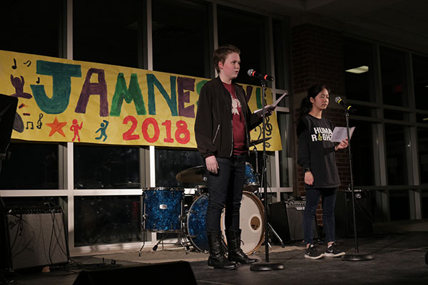 "KALEB FIGHTS FOR HUMAN RIGHTS: Speaking at South's annual concert ""Jamnesty"", junior Kaleb Garden gives a passionate speech to his peers. Garden talked about human rights issues in an effort to raise awareness throughout South."