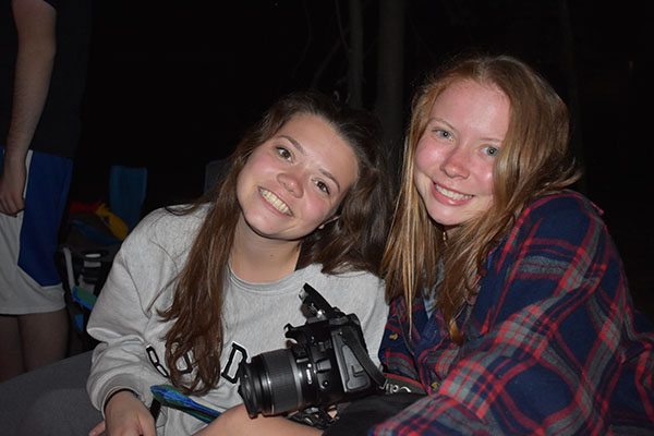 Senior Lily Smith and senior Emma Wills pose for a picture while working as camp counselors.