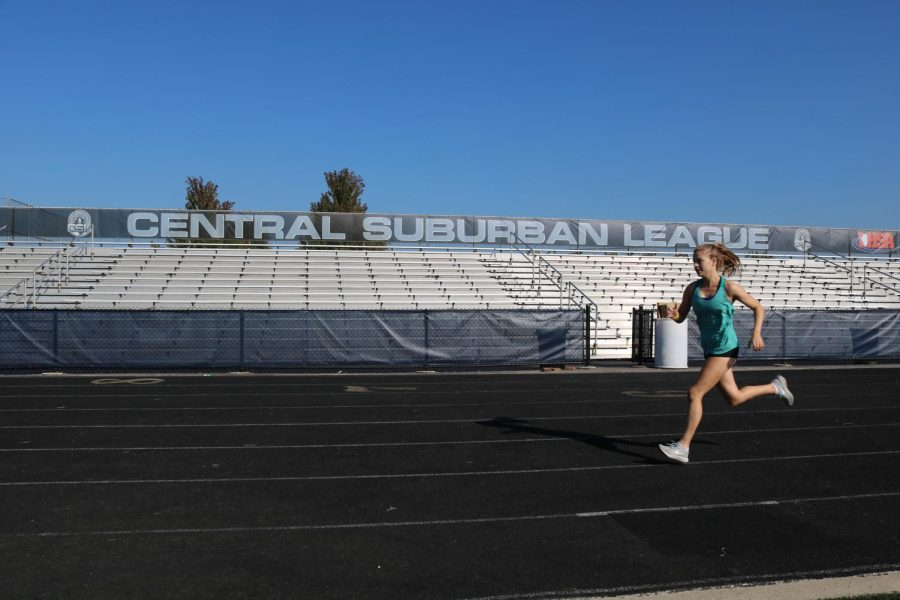 Senior+captain+Lila+Frick+practices+on+the+GBS+track.+The+girls+cross+country+team+finished+third+at+the+Wakanda+meet+on+Sept.+1.