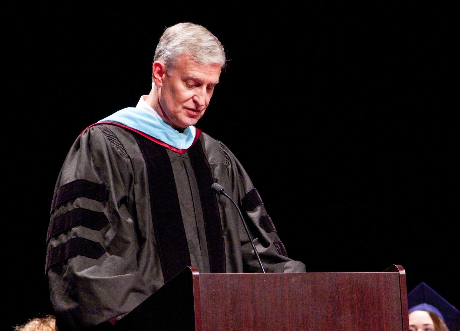 Sentimental Speech: Speaking at the 2018 graduation, Riggle reflects on his cherished memories of the graduating class. On this day, Riggle officially announced to faculty his plan to retire.