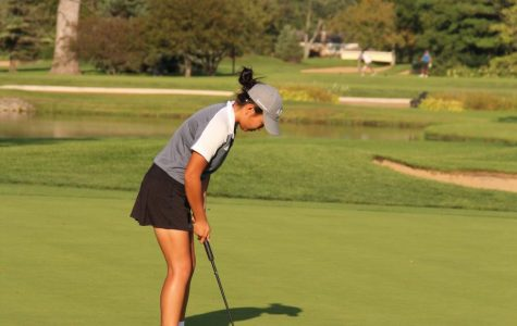 Concentrating on her shot, Tanaka aims to put the ball in the hole. She'll be continuing her golf career as a D1 athlete at Indiana University next fall.