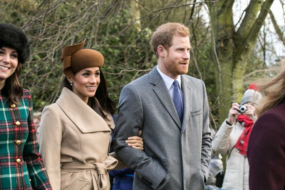 Prince Harry and Meghan Markle enjoying Christmas Day in 2017. The royal couple were wed on May 19, 2018.