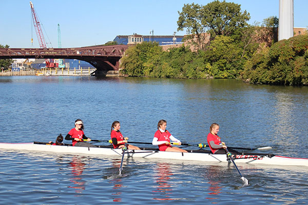 Pulling the oars in sync, South's rowing team prepares for the first regatta on March 23.