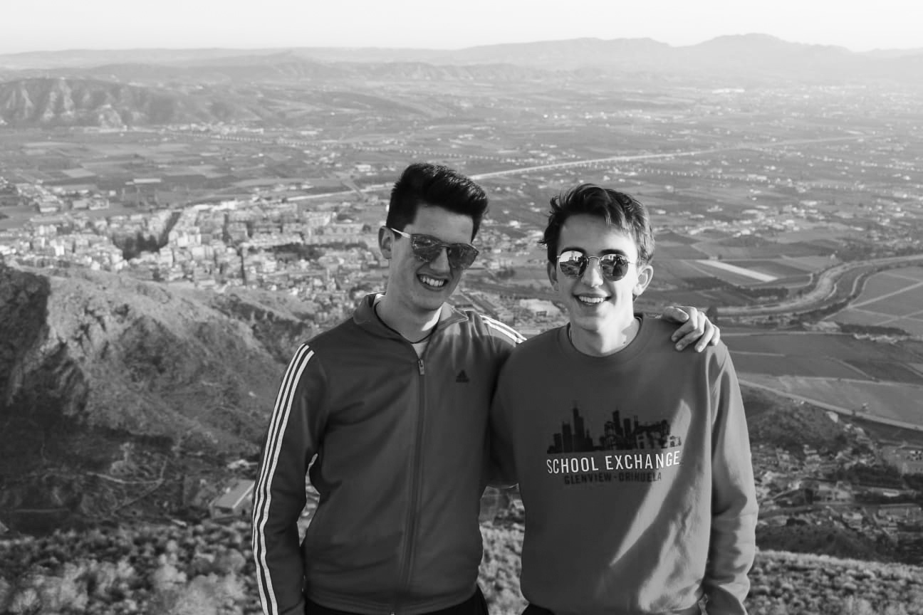 Aventuras   alegres:  Posing together, senior Will Langas (right) and Germán Abellán (left) explore and sightsee around Spain. The Spanish Exchange program is available for juniors and seniors to participate in every two years.