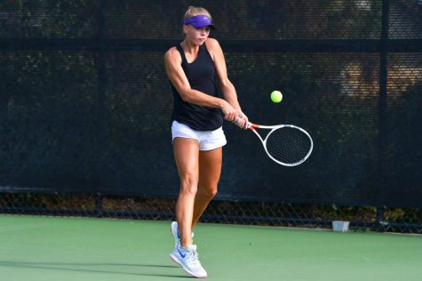 Winning wildcat: Returning a serve (left) and getting set to serve (right), Northwestern commit Sydney Pratt prepares to continue her success on the tennis court. Pratt's tennis prowess drew Northwestern University's attention, ultimately resulting in a scholarship offer to play for the school's team on Aug. 28. Courtesy of Sydney Pratt