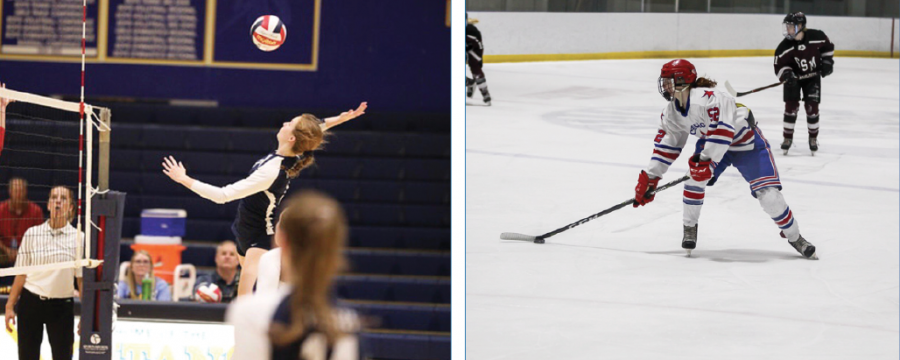 Starring in their respective sports, senior twins Ashley Carr, girls' volleyball player, and Addie Carr, girls' hockey player, have both accepted offers to continue their careers at the next level, with Ashley at the University of Miami and Addie at Rochester Institute of Technology. Despite their geographical differences in college, they will remain vital parts of each other's support systems.