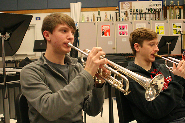 Trumpeteering during a morning Jazz Ensemble practice, junior Jack Kelly performs his piece alongside senior Matt Grinde. Kelly made ensemble his Sophomore year, and has avidly remained a part of the entire music department.