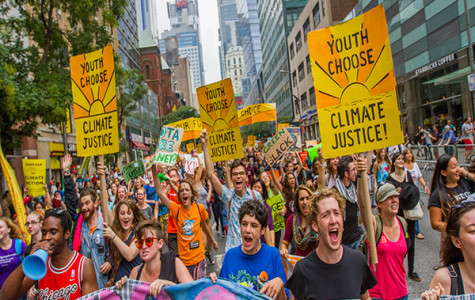 MARCHING FOR THE MOVEMENT: Over 40,000 people gathered in New York City in September 2014 to rally and protest for climate justice, making it the largest action on climate in history. The march was successful in changing the notion that climate does not affect our lives personally, a misconception that many South students are attempting to eliminate through increased discussion and awareness.