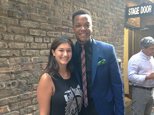 Love for Lola: Already stunned by the performance, senior Alexandra Sharp poses with J. Harrison Ghee who played Lola in the musical, Kinky Boots. The musical has won six Tony Awards, including Best Musical in 2013.
