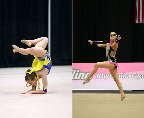 Rhythmic Resiliency:  Competing at her first national competition for rhythmic gymnastics at 11 years old, senior Sasha Vassilyeva does an elbow stand (left). Five years later, Vassilyeva performs at an international competition (right). Photos courtesy of Sasha Vassilyeva