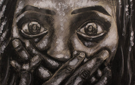 """AP Art's Anticipation:  Featured is one of senior Hana Mohammed Raffee's works of art that will be displayed in the AP Art show. The piece is titled """"Identified."""