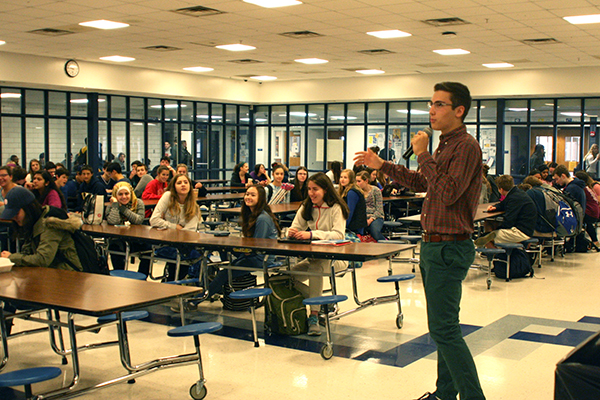 Addressing Key Club members, leader John Schurer explains future volunteer opportunities. On April 22, Key Club will host a leadership conference at GBS for Chicagoland service clubs.