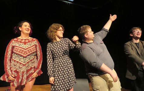"""Dazzling Directors:   Bowing after the end of their shows, senior directors (left to right), Sofie Schwartz, Anna Bundy, Micheal Kirby and Aidan Demsky, participate in the last theatre related event of the school year. The names of their plays, respectively, are, """"Drugs are Bad"""", """"Not a Date"""", """"Buyer$ Market"""" and """"The Secret Origin of Mojo Man""""."""