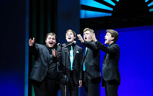 CAROLING COLB: Performing in South's 2016 variety show, from left to right, alumnus Micheal Kirby,  senior Colb Uhlemann, alumni Ethan Reiss and Jack Riley sing together. Uhlemann is the president of Master Singers and is involved with three of South's a capella groups.