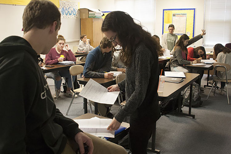 Math teacher Michelle Steinberg teaching a class. She is one of the group of female math teachers that, for the first time, comprise a majority of the department.