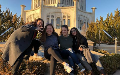 FRIENDLY FRENCHIES: Smiling with their French exchange partners, juniors Megan Stettler (second from left) and Taylor Everson (second from right) visit the Baha'i Temple in Wilmette. GBS students will travel overseas to France and Germany this summer to live with exchange partners. Photos courtesy of Megan Stettler