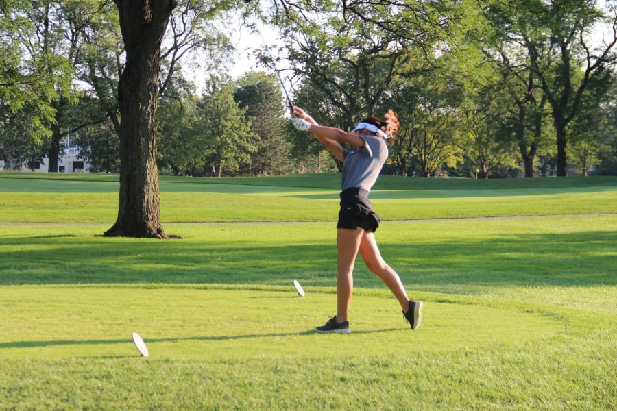 Junior Ysabella Arrojo tees off at the Glen Club on Sept. 14. Senior Hanna Tanaka finished first in the Hersey Invite one day prior.