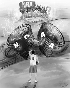 Scandal Storm :    NCAA players have faced trouble regarding eligibility, enrollmet, and the profesional draft. The NCAA's new rule changes look to smooth out transitions and add flexibility to the decisions of student athletes.  Illustration by Margo Kazak