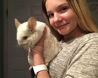 Furry Friends: Cuddling her pet, sophomore Emma Bird holds her albino chinchilla Faux for a picture. South students own a variety of exotic animals.