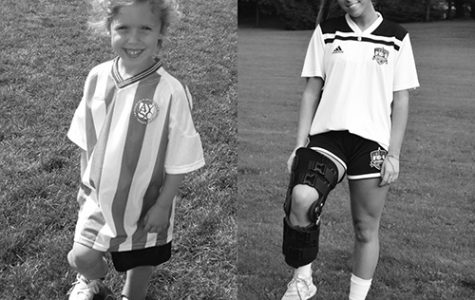 Soccer   Star:  Preparing for soccer games, Junior Caroline O'Shaughnessy poses for photos. On the left, O'Shaughnessy is five, and on the right, she is 16. Photos courtesy of Caroline O'Shaughnessy