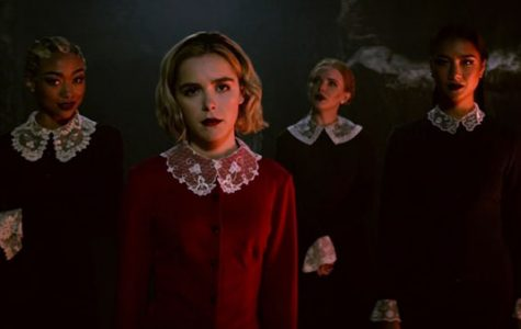 Actress Kiernan Shipka portrays timeless character Sabrina Spellman in Netflix's chilling reboot of the comic strip and sitcom Sabrina the Teenage Witch. From left to right, actresses Tati Gabrielle, Abigail Cowen and Adeline Rudolph play the antagonistic, Macbeth-esque Weird Sisters in the show, which has been renewed for a second season.