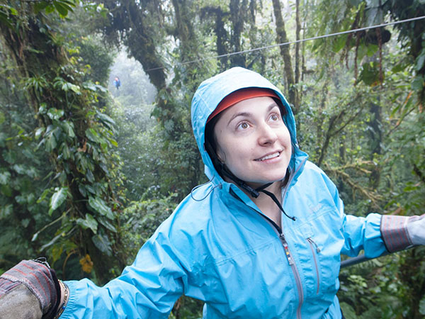 Amazing Adventures: Ziplining through the trees, Science Teacher Jessica Pritzker stands on the Monteverde zipline, the longest in Costa Rica. Pritzker spent her pre-honeymoon in Costa Rica in December before getting married the next January.