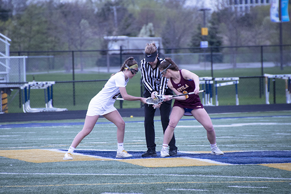 Raging Rivals:   Starting off the game, sophomore Meghan Bireley faces off against Souths' rival Loyola. The team wasn't able to secure a win and lost 16-6, however, they have since had a winning record of 15-4 this season, according to Head Coach Annie Lesch.
