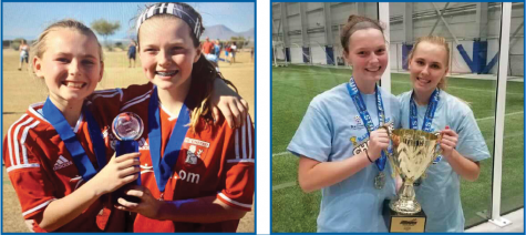 Progressing Players: Working together as teammates for the better part of their soccer careers, juniors Bella Gemignani and Lilly O'Rourke have taken their partnership to the South girls' soccer team. Gemignani and O'Rourke take a photo together every year at tournaments they compete in, with photos from 2015 and 2020 pictured.