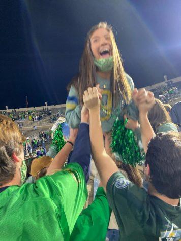 Cheering Chiarieri: Celebrating a Notre Dame Touchdown against Clemson, former co-editor-in-chief Madaket Chiarierihas enjoyed her freshman year of college, despite the weirdness created by Covid-19. Photo courtesy of Madaket Chiarieri