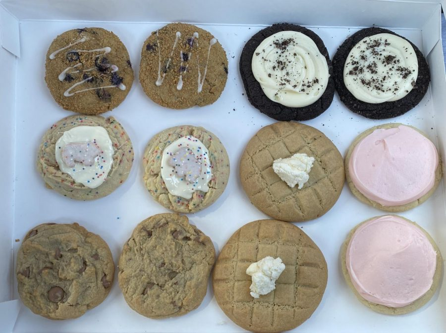 Countless Cookies: The many flavors offered at Crumbl are displayed in a box.