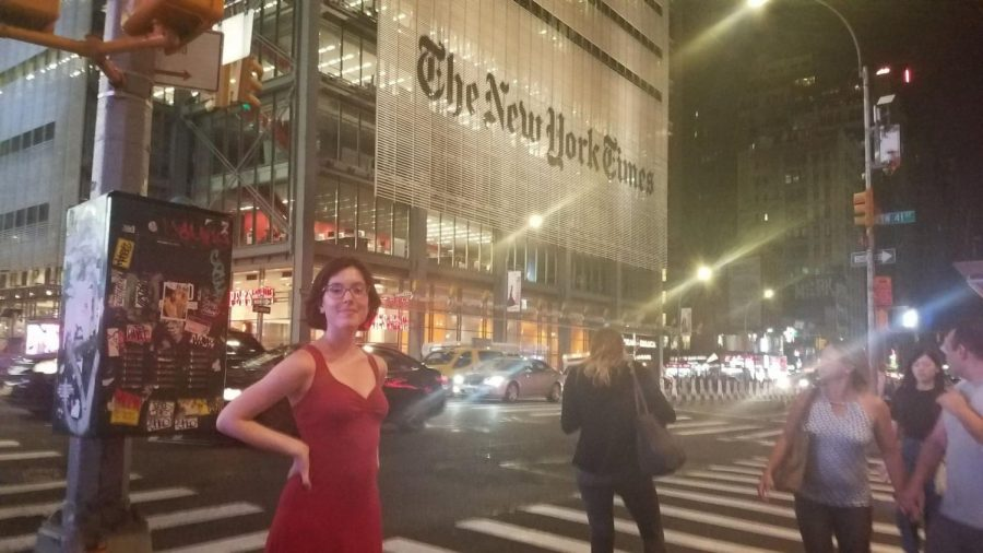 Journalist Jacobs: Beaming in front of the The New York Times building in New York City, South alumna Julia Jacobs works at the newspaper publication as a General Assignment Reporter on the Culture Desk. She began her journalism career on The Oracle and is now a full-time writer for The New York Times. Photo courtesy of Julia Jacobs